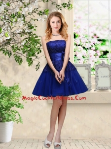 Popular Hand Made Flowers Royal Blue Cute Cocktail Dresses with Appliques