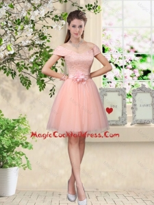 2016 Discount Off the Shoulder Hand Made Flowers Sexy Cocktail Dresses in Baby Pink