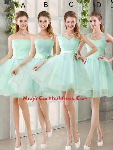 2016 Spring A Line Ruching Sexy Cocktail Dresses with Belt in Apple Green