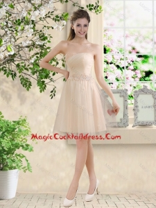 Comfortable Strapless Champagne Sexy Cocktail Dresses with Knee Length