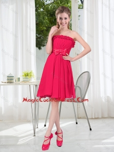 Coral Red Strapless Bowknot Sexy Cocktail Dresses for 2016 Summer