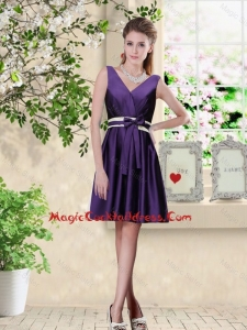 Discount V Neck Zipper Up Sexy Cocktail Dresses in Dark Purple