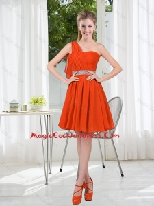 Rust Red One Shoulder Sexy Cocktail Dresses with Beading and Belt