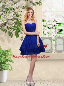 Simple Sweetheart Royal Blue Sexy Cocktail Dresses with Belt