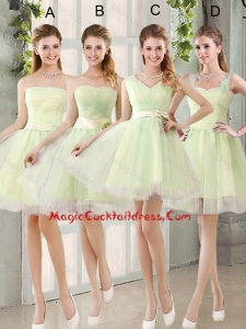 Custom Made Mini Length Vintage Cocktail Dresses in Yellow Green