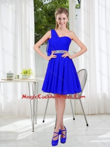 Custom Made One Shoulder Mini-length Vintage Cocktail Dresses in Royal Blue