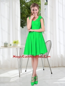 Elegant A Line Straps Green Vintage Cocktail Dresses with Hand Made Flowers