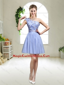 Perfect One Shoulder Appliques Sexy Cocktail Dresses in Lavender