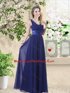 Wonderful Ruched Navy Blue Sexy Cocktail Dresses with V Neck