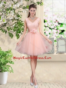 Decent V Neck Baby Pink Vintage Cocktail Dresses with Hand Made Flowers