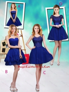 Wonderful Mini Length Royal Blue Vintage Cocktail Dresses with Appliques