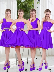 2016 Fall A Line Bowknot Cheap Cocktail Dresses in Purple