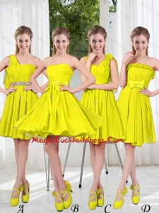 2016 Summer Simple One Shoulder Cheap Cocktail Dresses in Yellow Green
