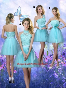 Beautiful A Line Aqua Blue Vintage Cocktail Dresses with Appliques