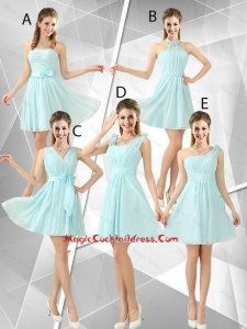 Beautiful A Line Ruched Vintage Cocktail Dresses in Light Blue