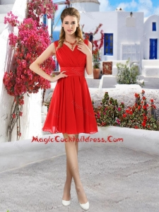 Simple Ruched Red V Neck Vintage Cocktail Dresses with Belt