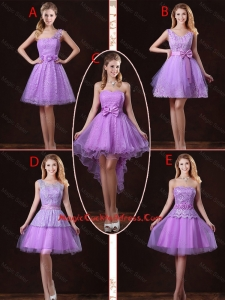 2016 Popular Laced Lilac Cocktail Dresses with A Line