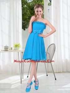 A Line Strapless Cheap Cocktail Dresses with Bowknot in Blue