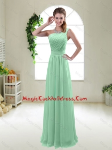 Classical Apple Green One Shoulder Cocktail Dresses with Zipper up
