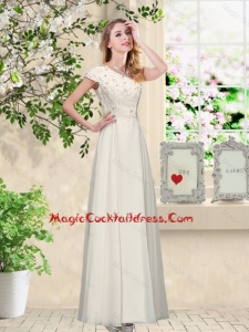 Elegant Champagne One Shoulder Cocktail Dresses with Appliques