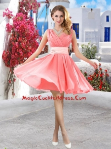 Perfect Short Belt and Ruched Cocktail Dresses in Watermelon
