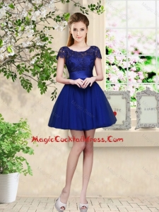 Sturning Bateau Short Royal Blue Cocktail Dresses with Cap Sleeves