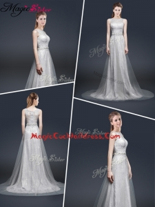 Elegant Empire Bateau Cocktail Dresses with Brush Train