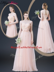 2016 Lovely Empire Bateau Cocktail Dresses with Appliques and Bowknot