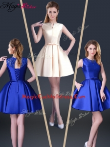 Beautiful Short Bateau Cocktail Dresses with Bowknot and Beading