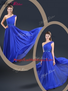Cheap 2016 One Shoulder Blue Cocktail Dresses with Belt