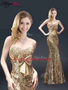 Fall Column Sequins Cocktail Dresses with Bowknot in Gold