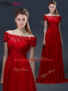 Simple Off the Shoulder Short Sleeves Red Cocktail Dresses with Appliques