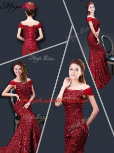 Winter Mermaid Off the Shoulder Sequins Cocktail Dresses in Wine Red