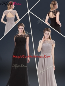 Elegant Empire Cap Sleeves Beading and Ruching Cocktail Dresses