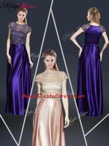 Empire Bateau Cocktail Dresses with Appliques and Belt