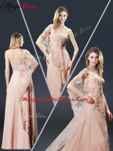 Luxurious One Shoulder Appliques Cocktail Dresses in Peach