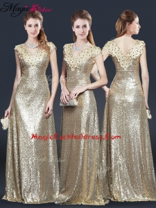 Perfect V Neck Sequins Cocktail Dresses in Champagne