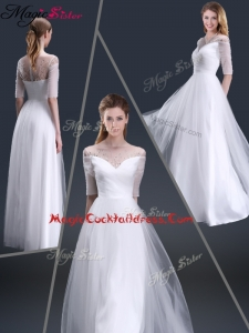 Popular Off the Shoulder Half Sleeves Cocktail Dresses with Beading