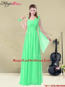 2016 Elegant Straps Floor Length Cocktail Dresses with Ruching and Belt for Summer