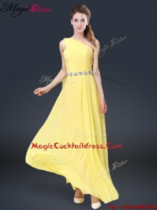 Fashionable One Shoulder Cocktail Dresses in Yellow