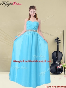 Summer Fashionable Ruching Best Cocktail Dresses in Aqua Blue