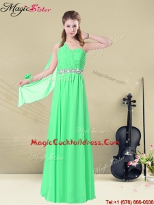 The Most Popular One Shoulder Floor Length Best Cocktail Dresses with Ruching and Belt