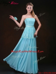 2016 Affordable Strapless Floor Length Designer Cocktail Dresses in Aqua Blue