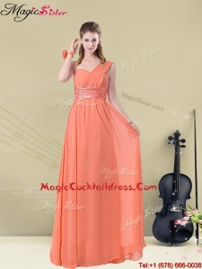 Affordable One Shoulder Floor Length Hot Sale Cocktail Dresses with Ruching and Belt