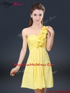 Sweet Short One Shoulder Ruching Hot Sale Cocktail Dresses
