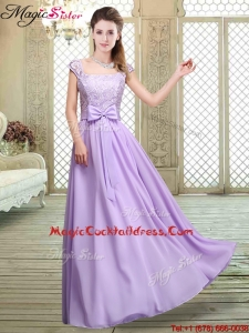 Fashionable Square Cap Sleeves Lavender Plus Size Cocktail Dresses with Belt