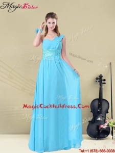 Latest Floor-length One Shoulder Plus Size Cocktail Dresses with Belt