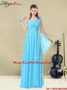 Simple Floor-length Straps RuchingPopular Cocktail Dresses