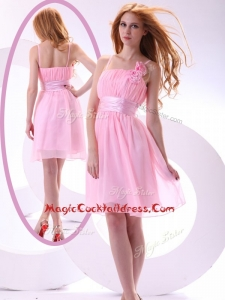 Beautiful Short Pink Cocktail Dresses with Hand Made Flowers and Belt
