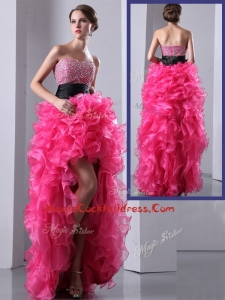 Exquisite High Low Hot Pink Cocktail Dress with Ruffles